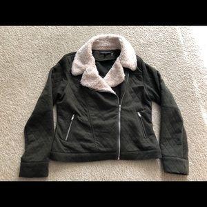 Olive green knit jacket - size L